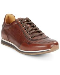 Saks Fifth Avenue By Magnanni Perforated Leather Trainers - Brown