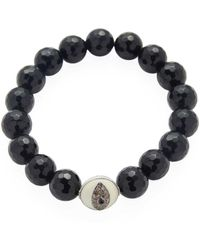 Bavna - Black Spinel Stretch Bracelet With Enamel Diamond Bead - Lyst