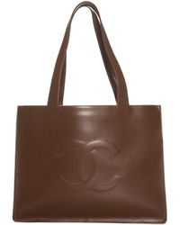 Chanel Brown Leather Cc Tote