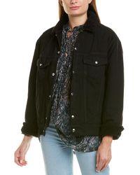 IRO Gravity Leather-trim Jacket - Black
