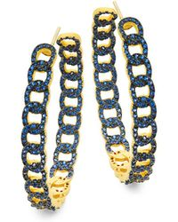 Freida Rothman - Baroque Crystal And Sterling Silver Hoop Earrings - Lyst
