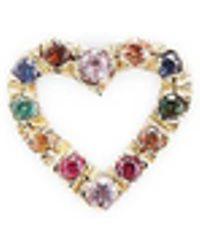 Bianca Pratt - Gold & Multi-color Sapphire Heart Stud Earrings - Lyst