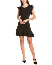 Rebecca Minkoff Saphira Linen-blend Ruffle Trim Dress - Black