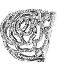 PANDORA Silver Cz Rose Ring - Metallic