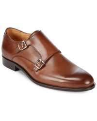 Saks Fifth Avenue Made In Italy Almond Toe Leather Monk Strap - Brown