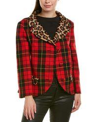 Michael Kors Haircalf-trim Wool-blend Coat - Red