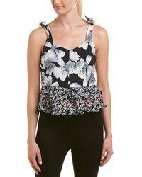 Nicole Miller Artelier Silk-trim Top - Black