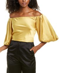 Pinko Off-the-shoulder Mousse Top - Yellow