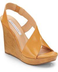 Diane von Furstenberg Sunny Leather Wedge Sandals - Natural