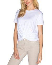 Chrldr Eyelet Stars Crop Knot T-shirt - White