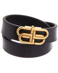 Balenciaga Bb Double Wrap Leather Bracelet - Black