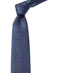 Ermenegildo Zegna Blue & Brown Paisley Silk Tie