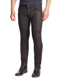 Diesel Black Gold Coated Denim Skinny Biker Jeans - Black
