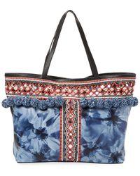Rebecca Minkoff Pom-pom Embroidery Tote - Blue