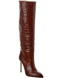Paris Texas Croc-embossed Leather Boot - Brown