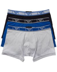 Emporio Armani 3 Pack And Blue Branded Trunks