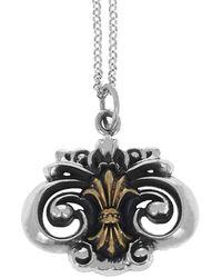 King Baby Studio Fleur De Lis Pendant Necklace - Metallic