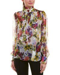 Dolce & Gabbana D&g Ruffle Silk Blouse - White