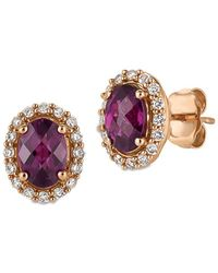 Le Vian - Diamond, Rhodolite & 14k Rose Gold Stud Earrings - Lyst