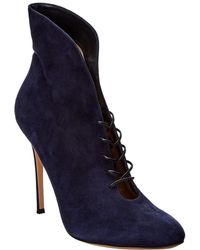 Gianvito Rossi Lace-up Suede Bootie - Blue