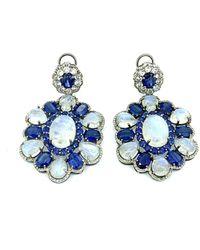 Arthur Marder Fine Jewelry Silver 1.75 Ct. Tw. Diamond Earrings - Blue