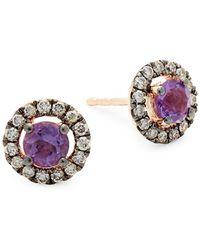 Le Vian - 14k Strawberry Gold Grape Amethyst & Chocolate Diamond Stud Earrings - Lyst