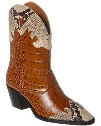 Paris Texas Croc-embossed Leather Bootie - Brown
