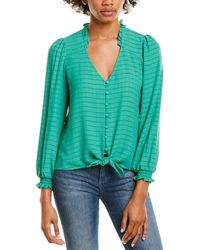 1.STATE Tie-front Blouse - Green