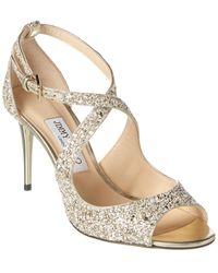 Jimmy Choo Emily 85 Glitter Sandal - Natural