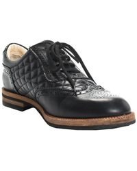 Chanel Pre-fall 2012 Black Quilted Leather Cc Oxford, Size It 38.5