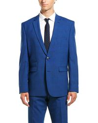 Vince Camuto Blue Plaid Two Button Notch Lapel Slim Fit Suit
