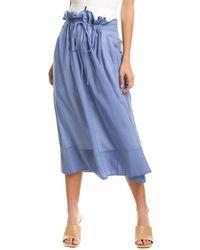 Tibi Gauze Overlay Double Waist Wool-blend Skirt - Blue