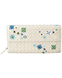 Bottega Veneta Meadow Flower Continental Wallet - White