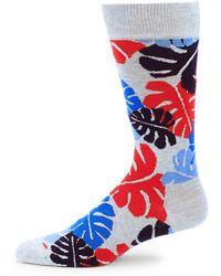 Happy Socks - Palm Camo-print Crew Socks - Lyst