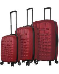 Mia Toro Abstract Croco Hardside 3pc Luggage Set - Red