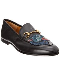 Gucci - Brixton Angry Wolf Applique Leather Loafer - Lyst