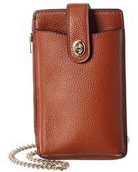 COACH Turnlock Leather Chain Phone Crossbody - Brown