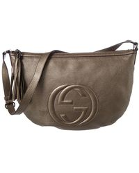 Gucci Grey Metallic Leather Soho Shoulder Bag - Multicolour