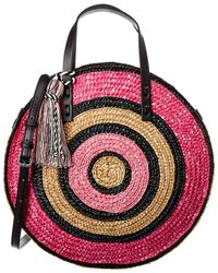 Rebecca Minkoff Women's Straw Circle Tote Top-handle Bag - Pink Multi