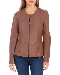 Badgley Mischka Genuine Leather Peplum Jacket - Brown