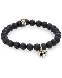 King Baby Studio - Onyx Beaded & Sterling Silver Cross Bracelet - Lyst