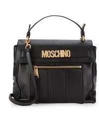 Moschino Leather Logo Satchel - Black
