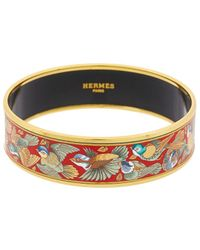 Hermès Printed Enamel Wide Bangle - Blue