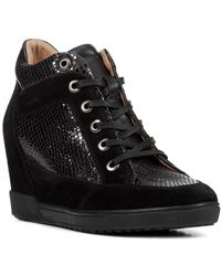 Geox D Carum Leather Wedge Sneaker - Black