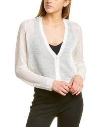 Eileen Fisher Short Linen-blend Cardigan - White