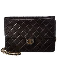 Chanel Black Quilted Lambskin Leather Medium Single Flap Bag