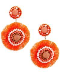 Panacea | Coral Circle Beaded Drop Earrings | Lyst