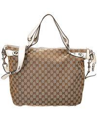 4115a4113008 Gucci - Brown GG Canvas & White Leather Icon Bit Tote - Lyst