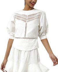 Rebecca Minkoff Lucia Linen-blend Top - White