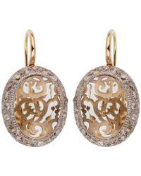 Pomellato 18k Rose Gold 17.36 Ct. Tw. Diamond & Green Prasiolite Drop Earrings - Metallic